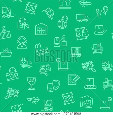 Cargo Delivery, Seamless Pattern, Green, Color, Contour Lines, Icons, Vector. Cargo Transportation A
