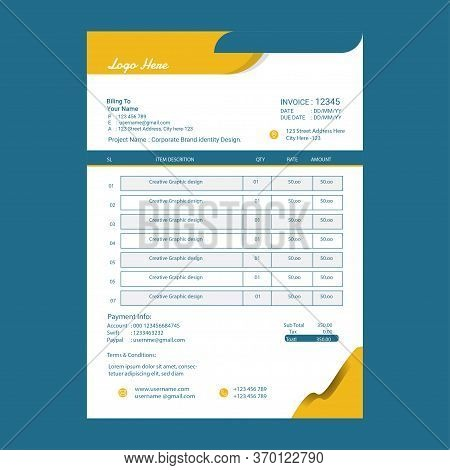 New Style Invoice Template Design.invoice Form Design Template. Bill Form Business Invoice Accountin