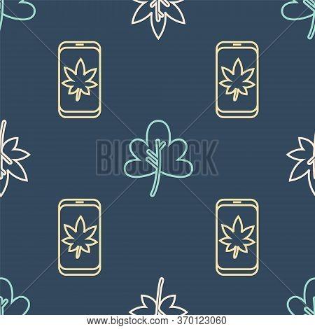 Set Line Leaf Or Leaves, Leaf On Mobile Phone And Leaf Or Leaves On Seamless Pattern. Vector