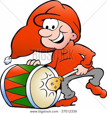 Hand-drawn Vector Illustration Of An Elf Playing Christmas Drum