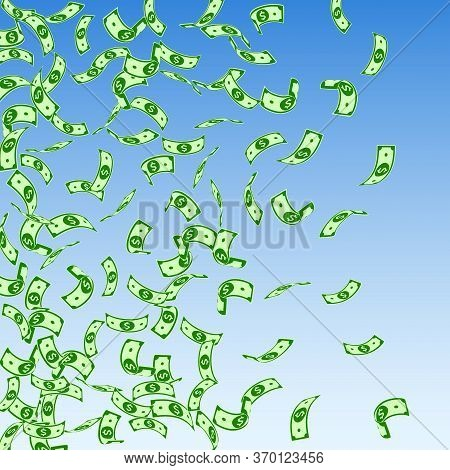 American Dollar Notes Falling. Sparse Usd Bills On Blue Sky Background. Usa Money. Comely Vector Ill