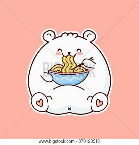Cute Happy Funny White Bear Eat Noodle From Bowl. Vector Flat Cartoon Kawaii Character Illustration