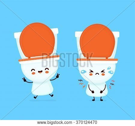 Cute Happy Smiling And Sad Toilet Bowl. Vector Flat Cartoon Character Illustration Icon Design. Wc,