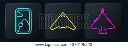 Set Line Airplane Window, Jet Fighter And Jet Fighter. Black Square Button. Vector
