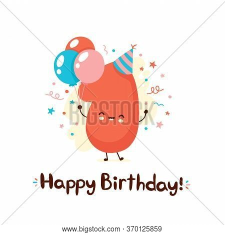 Cute Smiling One Number With Balloons In Festive Hat. Happy Birthday 1 Year.vector Flat Cartoon Char