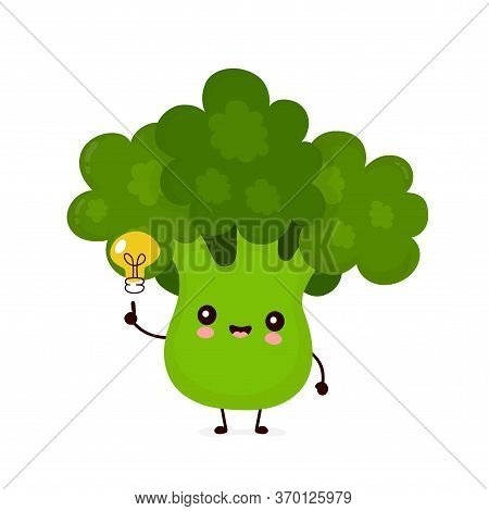 Cute Happy Smiling Broccoli Vegetable With Light Bulb. Vector Flat Cartoon Character Illustration Ic