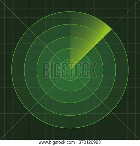 Vector Green Radar. Hud Radar Display. Military Search Engine. Vector Illustration