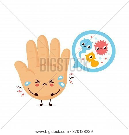 Cute Sad Human Hand And Microscopic Bacterias. Vector Flat Cartoon Character Illustration.isolated O