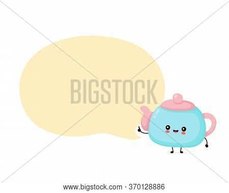 Cute Happy Smiling Teapot. Vector Flat Cartoon Character Illustration Icon Design.isolated On White