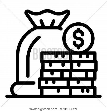Deposit Money Icon. Outline Deposit Money Vector Icon For Web Design Isolated On White Background
