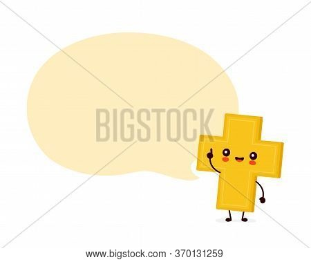 Cute Happy Smiling Christian Cross With Speech Bubble. Vector Flat Cartoon Character Illustration Ic