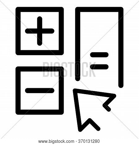 Basic Calculator Icon. Outline Basic Calculator Vector Icon For Web Design Isolated On White Backgro