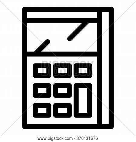 Calculator Math Device Icon. Outline Calculator Math Device Vector Icon For Web Design Isolated On W