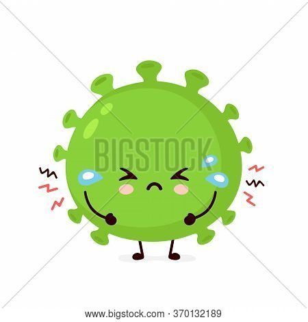 Cute Sad Cry Good Probiotic Bacteria. Vector Flat Cartoon Character Illustration Icon Design.isolate