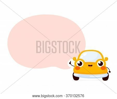 Cute Happy Yellow Automobile Car With Speech Bubble. Vector Flat Cartoon Character Illustration Icon
