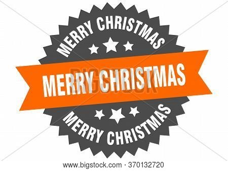 Merry Christmas Sign. Merry Christmas Circular Band Label. Round Merry Christmas Sticker