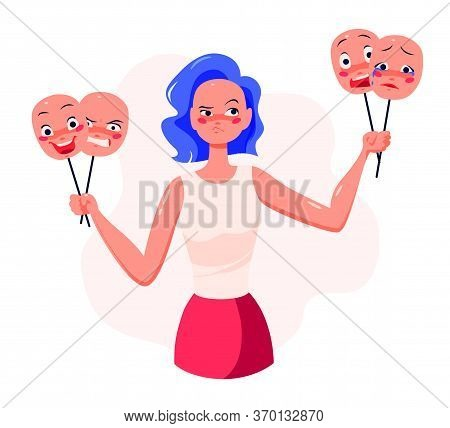 Young Woman Cartoon Character Holding Masks With Different Facial Expressions To Control Her Emotion