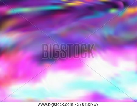 Blurred Hologram Texture Gradient Wallpaper. Glamorous Neon Party Graphics Background. Hologram Colo