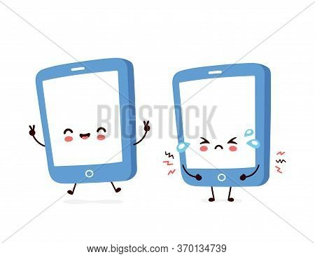 Cute Smiling Happy And Sad Smartphone, Mobile Phone. Vector Flat Cartoon Character Illustration.isol