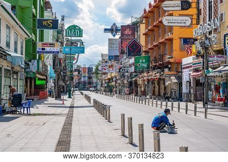 Bangkok/thailand-30 May 2020:worker Maintenance The Road In Khao San Road Under Covid 19 Situation.k