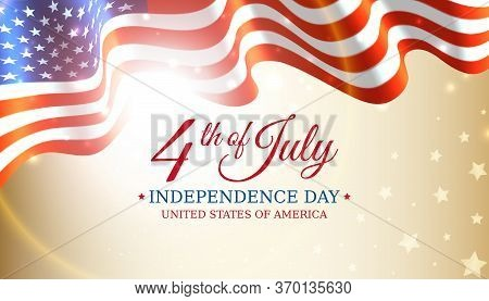 Poster 4th Of July Usa Independence Day, Vector Template With American Flag And Shining Sun On Golde