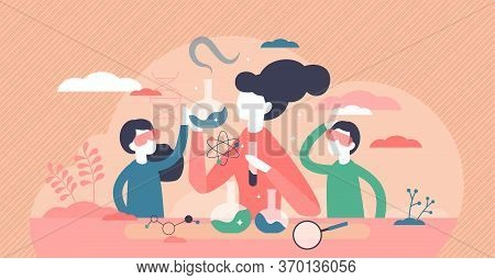 Kids Science Vector Illustration. Experiment Laboratory Flat Tiny Persons Concept. Children And Teac
