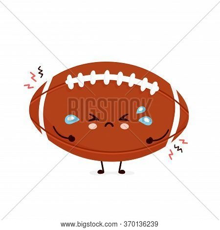 Cute Sad Cry American Football Rugby Ball. Vector Flat Cartoon Character Illustration Icon Design.is
