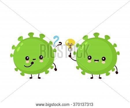 Cute Happy Good Probiotic Bacteria With Question Mark And Idea Lightbulb. Vector Flat Cartoon Charac