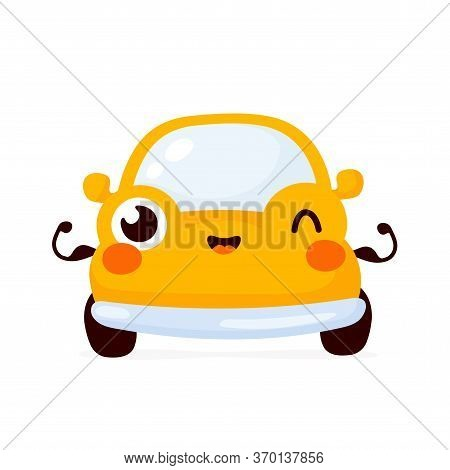 Cute Happy Strong Yellow Automobile Car Show Muscle. Vector Flat Cartoon Character Illustration Icon