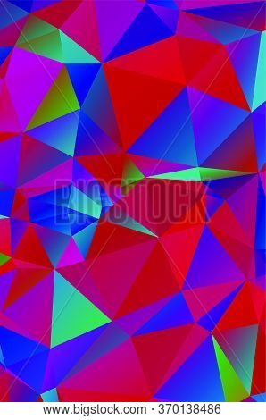 Geometric Designs. Vector, Multicolor Geometric Background. Triangles, Vivid In The Style Of Cubism
