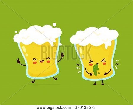 Cute Happy Smiling And Sad Vomit Glass Of Beer. Vector Flat Cartoon Character Illustration Icon Desi
