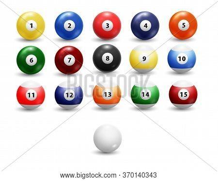 Billiard Balls Set. Assorted Billiard Balls Isolated On Transparent Background