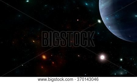 Universe All Existing Matter And Space Considered As A Whole The Cosmos.  Scene With Planets, Stars
