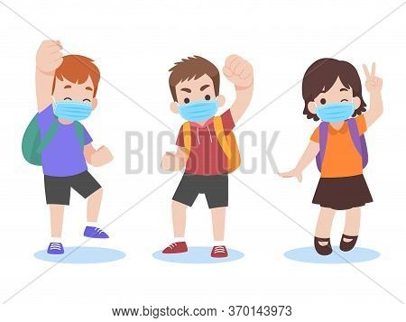 Set Of Children In New Normal Life Wearing A Surgical Protective Medical Mask For Prevent Coronaviru