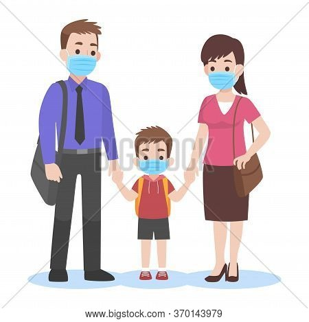 Parents Take Their Children To The School Wearing A Surgical Face Mask For Prevent Coronavirus Back