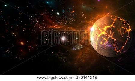 Universe All Existing Matter And Space Considered As A Whole The Cosmos. Scene With Planets, Stars A