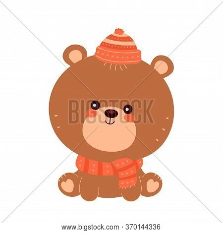 Cute Happy Smiling Baby Bear In Scarf And Hat. Vector Flat Cartoon Character Illustration Icon Desig