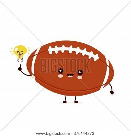 Cute Happy American Football Rugby Ball With Light Bulb. Vector Flat Cartoon Character Illustration