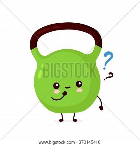 Cute Smiling Happy Fitness Kettlebell With Question. Vector Flat Cartoon Character Illustration Icon