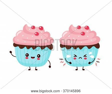 Cute Happy Smiling And Sad Cry Cupcake. Vector Flat Cartoon Character Illustration Icon Design.isola