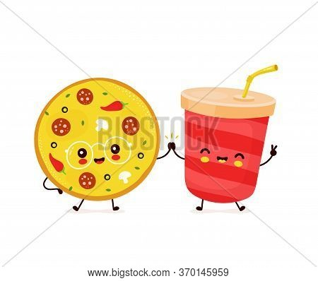 Cute Happy Smiling Soda Cup And Pizza. Vector Flat Cartoon Character Illustration Icon Design. Soda