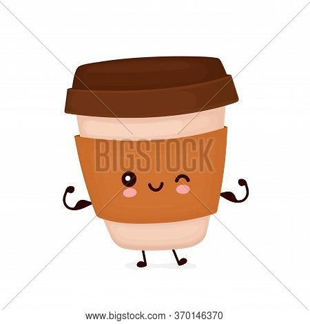 Cute Happy Strong Coffee Paper Cup Show Muscle. Vector Flat Cartoon Character Illustration Icon Desi