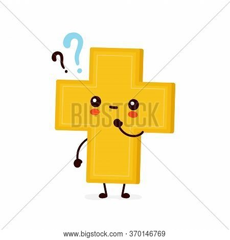 Cute Happy Smiling Christian Cross With Question Marks. Vector Flat Cartoon Character Illustration I