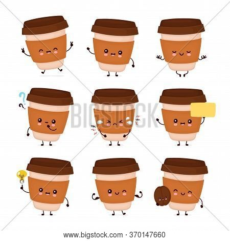 Cute Happy Coffee Paper Cup Set Collection. Vector Flat Cartoon Character Illustration Icon Design.i