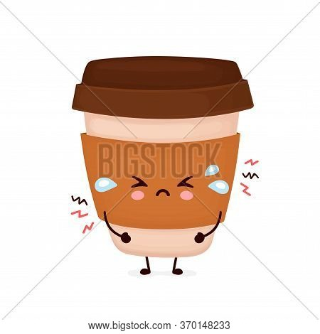 Cute Sad Cry Coffee Paper Cup. Vector Flat Cartoon Character Illustration Icon Design.isolated On Wh