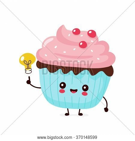 Cute Happy Smiling Cupcake With Light Bulb. Vector Flat Cartoon Character Illustration Icon Design.i