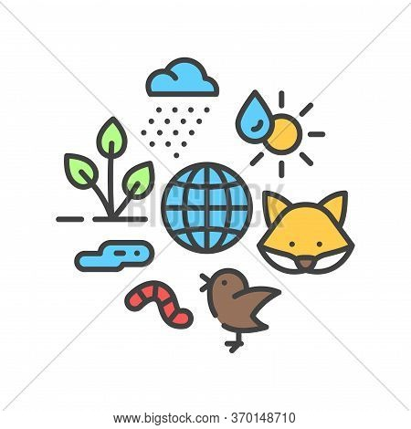 Ecosystem Color Line Icon. Sustainable Biodiversity And Animal Friendly Environment. Sign For Web Pa