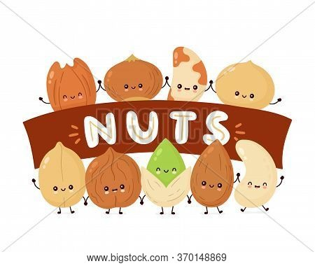 Cute Happy Nuts Banner. Vector Flat Cartoon Character Illustration Icon Design. Isolated On White Ba