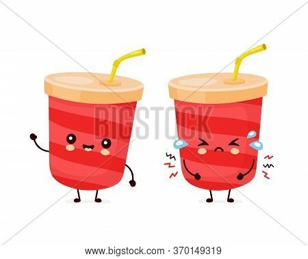 Cute Happy Soda Water Cup. Vector Flat Cartoon Character Illustration Icon Design.isolated On White