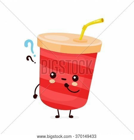Cute Happy Soda Water Cup With Question Mark. Vector Flat Cartoon Character Illustration Icon Design
